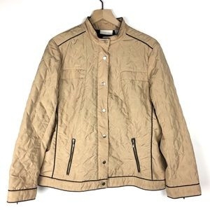 Chico's Jacket 2 Quilted Puffy Zipper Snap Piping